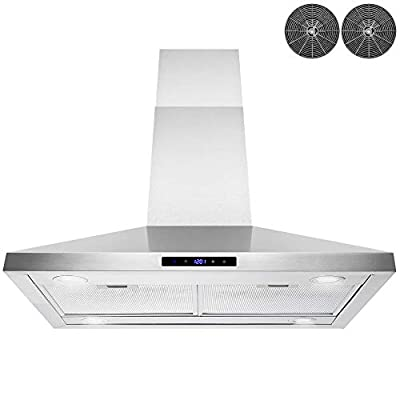 AKDY 36 in. Convertible Island Mount Stainless Steel Range Hood with LED Lights, Touch Control and Carbon Filters