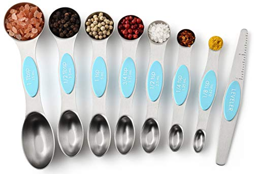 Spring Chef Magnetic Measuring Spoons Set Dual Sided Stainless Steel Fits in Spice Jars Aqua Sky Set of 8