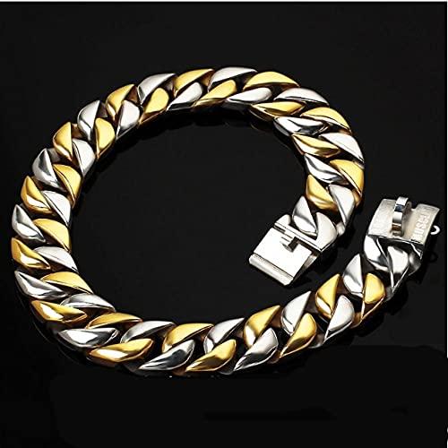 Collar grande para perros de 32 mm de acero inoxidable y 70/75/80 cm de longitud, dorado, 32 mm x 90 cm