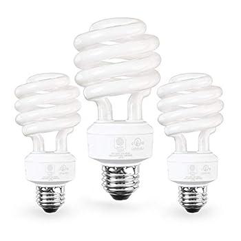 SleekLighting E26 Standard Screw Base 23Watt CFL Light Bulb - 3 Pack 2700 Kelvin for a Warm White and 1600 Lumens  100 Watt Light Bulb Equivalent  - UL Listed