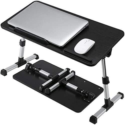 Verstellbarer Laptop-Schreibtisch für das Bett Tragbare Lap-Schreibtische mit faltbaren Beinen Tragbarer Steh-Schreibtisch für das Essen Arbeiten Schreiben Zeichnen (Schwarz)