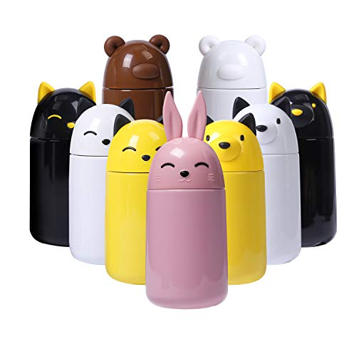FACE Cute Water Bottle for Girls Vacuum Insulated Stainless Steel Thermos Bottle, 10-Ounce, Pink Rabbit