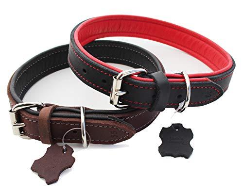 Hundehalsband Echt-Leder für mittelgroße und große Hunde 3 cm breit mit Nappaleder gepolstert 5-fach verstellbar M L XL braun-schwarz oder schwarz-rot robuste Premium Qualität MADE IN GERMANY