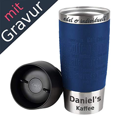 Emsa Isolierbecher Kaffeebecher 360 ml Blau + Lasergravur