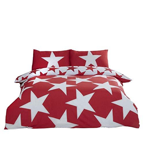 AngoisséÉtoiles Rouge Mélange de Coton Réversible King Size ( Rouge Uni Drap Housse - 152 X 200cm + 25) Rouge Uni Femme au Foyer Taie D'Oreiller 6 Pièces Ensemble de Literie