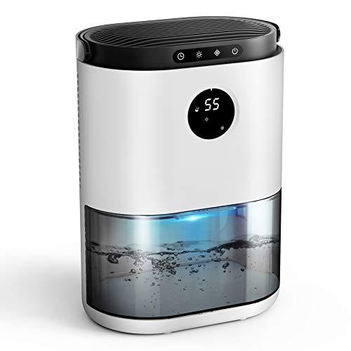 UGHEY Deshumidificador, 2.3L,Semiconductor Doble, Descongelación Automática, Ajuste de Tiempo, 7 Colores LED, Sensor de Humedad, Contra el Moho y la Humedad para Habitaciones, Hogares Armarios Garajes
