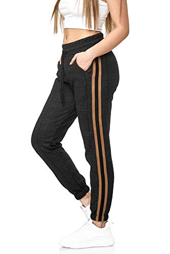 Damen Jogginghose Frauen Trainingshose Sport Fitness Gym Training Slim Fit Sweatpants Streifen Jogging-Hose Stripe Pants Modell 1226 (Schwarz Gold, M)