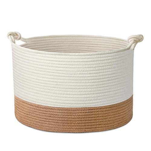 HB life Wäschekorb Aufbewahrungskorb aus Baumwolle Seil Wäschesammler Baby Spielzeug-Aufbewahrungsbehälter mit Griff für Wohnzimmer Kinderzimmer Badzimmer (51x33cm)