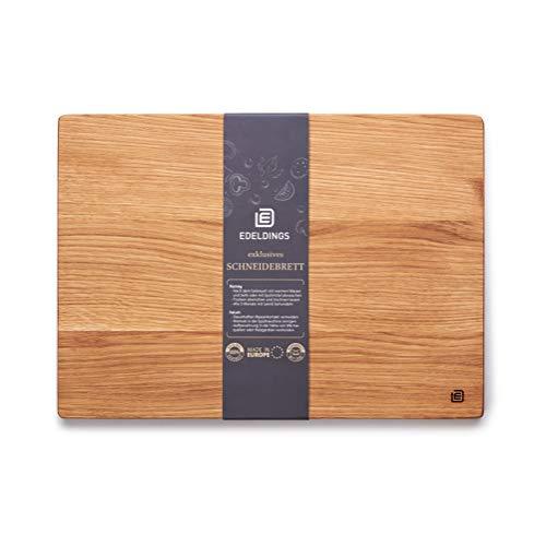 Edeldings XL Massivholz Schneidebrett aus Eiche   Groß 35 х 25   Küchenbrett Holz aus Europa   Antibakterielles Holzschneidebrett, Servierbrett, Holzbrett, Eichenholz massiv für Küche