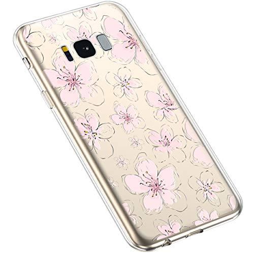 Uposao Compatibile con Samsung Galaxy S8 Plus Bello Fiori Trasparente Silicone Regalo Elegante e Durevole Sottile Back Case Molle di TPU Custodia Shell Cover per Donna,Acquerello pesco