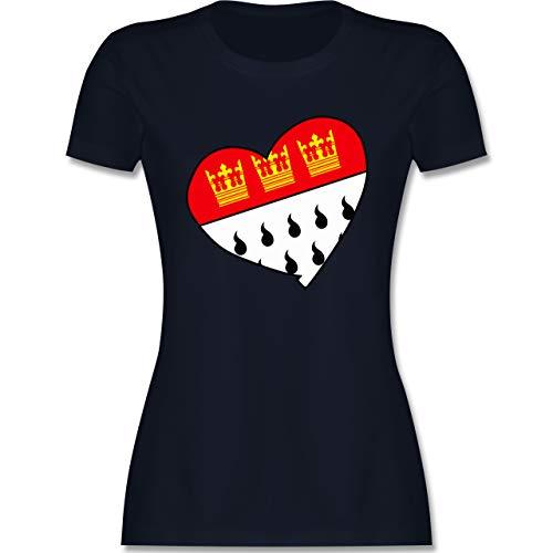 Karneval & Fasching - Köln Wappen Herz - M - Navy Blau - Karneval köln - L191 - Tailliertes Tshirt für Damen und Frauen T-Shirt