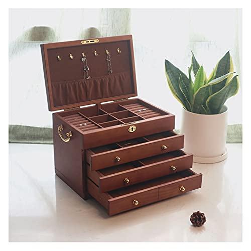 hkwshop Caja de Joyas Jewelry Box, 4 Cajones Caja De Almacenamiento Organizador Contenedor con Bloqueo De Terciopelo para Anillos, Collares, Pendientes, Pulseras Caja de Joyería