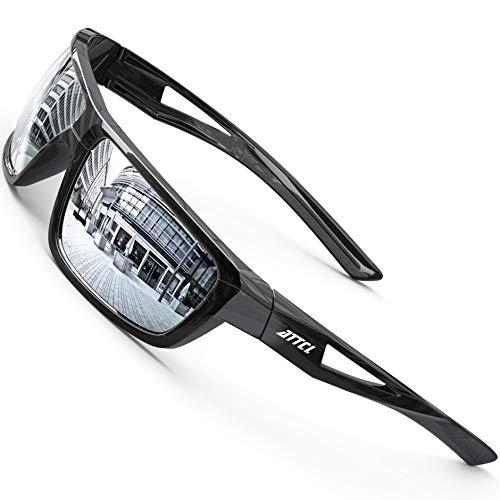 ATTCL Herren Sportbrille Polarisierte Sonnenbrille Fahrerbrille TR90 Rahme Ultra Leicht J2021 Silver