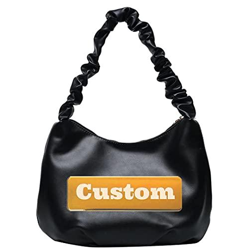 Nombre Personalizado Bolsos Organizador Pequeñas Mujeres Messenger Bag Regalo de Cuero Compras con Asas pequeñas (Color : Black, Size : One Size)
