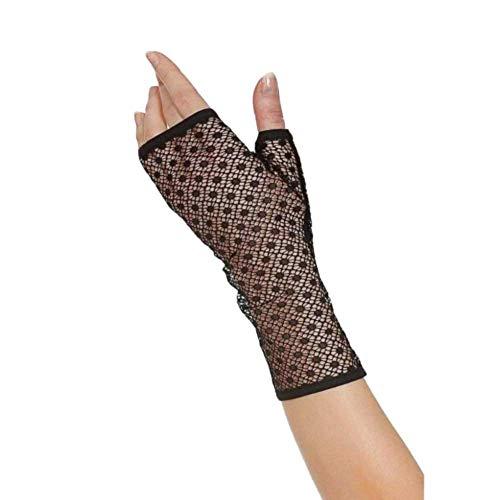 Addiction Nouvelle Lingerie Rendez-Vous Fingerless Geometric Pattern Lace Gloves - Black, Os - Black, OS