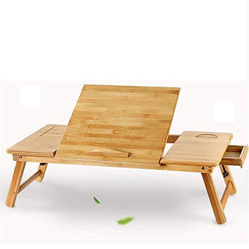 HLL Tisch, Computer-Workstations Stehpult Einfachen Bambus Folding Schreibtisches für Bett, Kühl Aufzug Serving Bett-Behälter mit Schublade, B, Blume + Fan,A,Flach + nofan