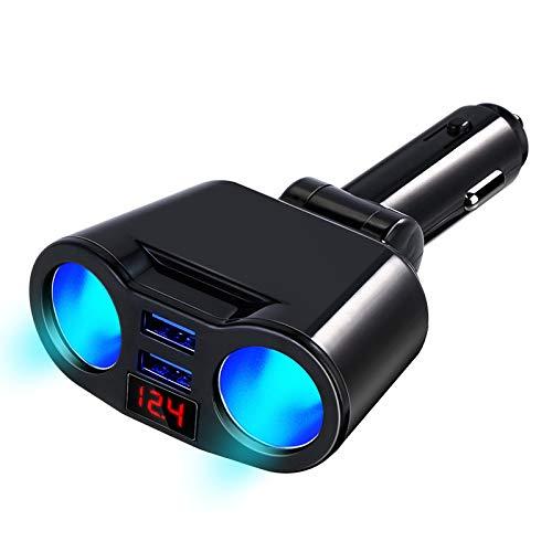 KOLOSM Cargador Coche Accesorios automáticos del Enchufe del Enchufe del Enchufe del Encendedor del Cigarrillo del Coche con el Adaptador de Puertos de Cargador USB Dual (Color Name : Black)