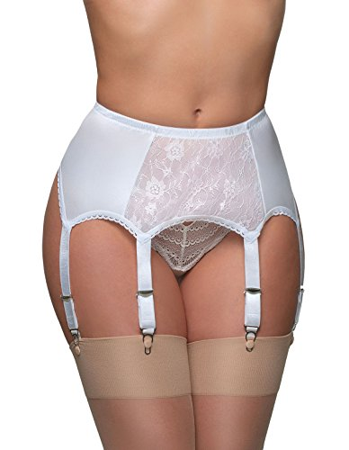 Nylon Dreams NDL8 Women's Solid Colour Lace Garter Belt 6 Strap Suspender Belt, White, XL