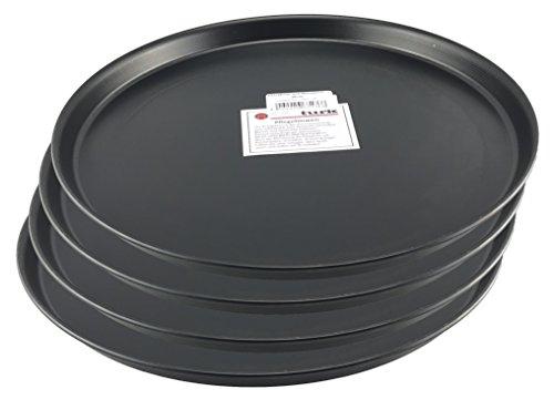 Turk Pizzablech/Pizzaform/Pizza-Backblech, Rund, unbeschichtet, für Steinofen Geeignet, hitzefest bis 400°, Gastronomie Geeignet, aus Blaublech geschmiedet von Turk, 4er Set (Durchmesser: 36cm)