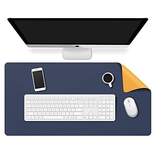 MoKo Alfombrilla de Escritorio para Ordenador, PU Tapete de Mesa Antideslizante y Impermable para Ratón, Teclado y Computadora para Casa y Oficina - Azul y Amarillo