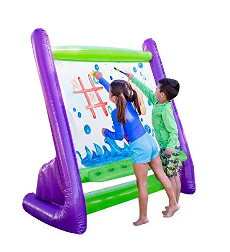 """HearthSong Giant Inflatable Easy Clean Outdoor Easel Incl 4 Paints 4 Sponges Brush 62"""" LX38 Wx61 H Built-in Art Tray, Multicolor, Model:"""