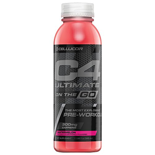 Cellucor C4 Ultimate On The Go Zero Sugar Pre Workout Drink, Energy Drink + Beta Alanine, Watermelon, 11.66 Fl Oz (Pack of 12)