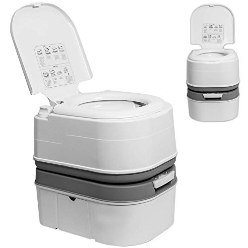 TPS Power Sports Portable Toilet Flushing Splash-Free Dumping Camping Toilet Anti-Leak Water Pump Large Capacity Waste Tank Travel Toilet Quick and...