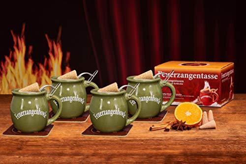 Feuerzangentasse 4er-Set, Oliv - für Feuerzangenbowle