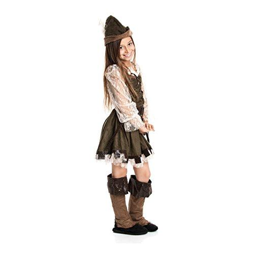 Kostümplanet® Robin Hood Kostüm Kinder Mädchen Faschingskostüm Lady Marian Kinderkostüm Räuberin Jäger Mittelalter Verkleidung Bogenschütze Größe 140