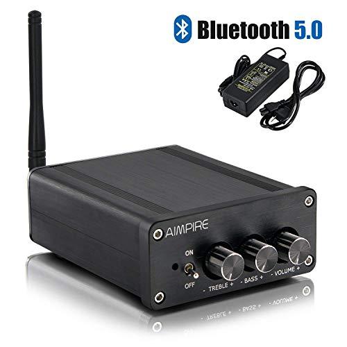 Audio DAC Bluetooth 5.0 Decoder - HiFi Stereo Decoding D/A Balanced Aimpire Desktop DAC Chipset ES9038 Q2M, XMOS XU208, OPA1611 OPA1612, DSD256 32Bit/ 384kHz, USB/Optical/Coaxial/Bluetooth Input