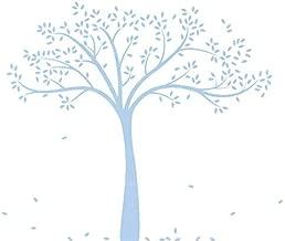 LittleLion Studio Fall Tree Monochromatic Wall Decal, Light Blue