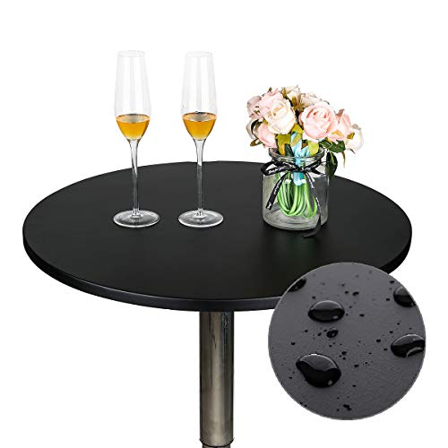 JISEN Cocktail Waterproof Round Table Topper Cap Polyester Fitted Stretchable Tablecloth Cover 24 Inch D-Black