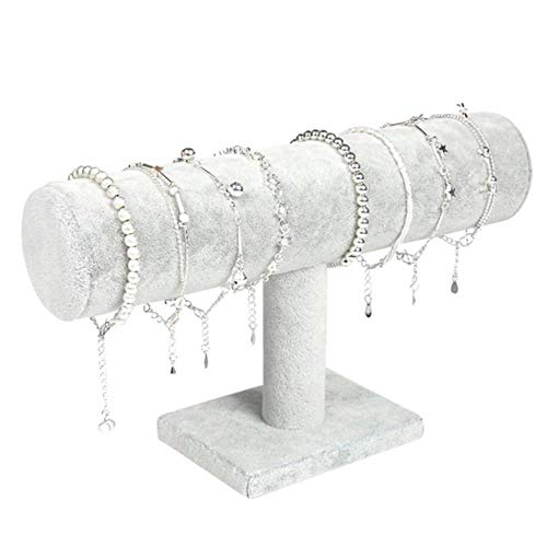 Ningb Portable Velvet Lederarmband Armreif Halskette Display Stand Inhaber Watch Jewelry Organizer Bar Rack, Grauer Samt