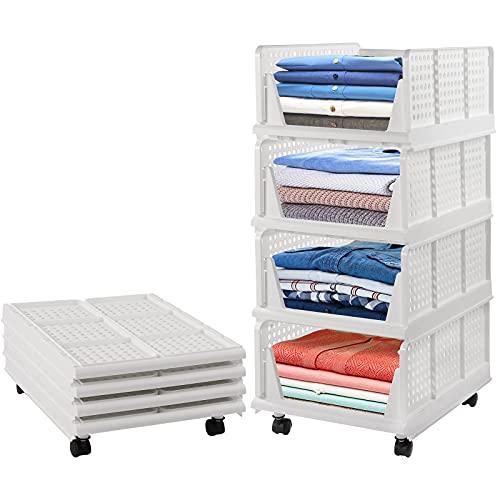 Cesta de almacenamiento plegable, 4 unidades, para armario de almacenamiento, plegable, de plástico, apilable, con ruedas, para escritorio, baño, cocina, color blanco