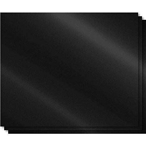 shibby 3X Back-& Grillmatte aus Teflon mit Antihaftbeschichtung (PFOA-frei) 40x33cm, beschichtetes Silikon, Schwarz