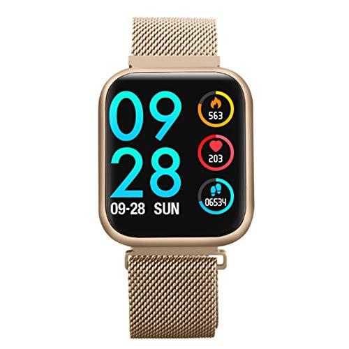 Wsaman Monitor de Actividad Pantalla Color Táctil Smartwatch Impermeable IP68 Fitness Tracker Monitor de Sueño, Podómetro, con Pulsómetro y Presión para Android/iOS, Monitor de Fitness,Oro