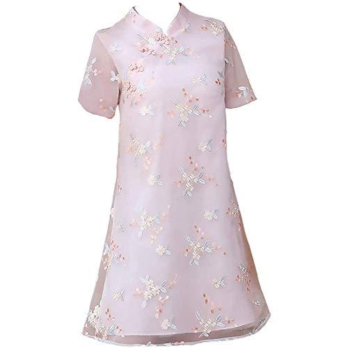 ZHANG Vestido Cheongsam Vestido Mejorado con Cheongsam Ropa De Mujer De Moda En Hanfu,Pink-3XL