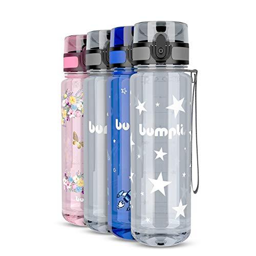bumpli® Kinder Trinkflasche mit Sternen-Motiv - auslaufsicher & kohlensäure geeignet - BPA-Freie Kindertrinkflasche mit Fruchteinsatz - Perfekt für Schule, Kindergarten, Sport - 500ml