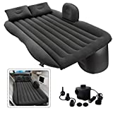 Inflatable Car Air Mattress, Removable Gray Backseat Air Bed with Air-Pump, Portable Car Travel Bed with Two Pillows Fits...