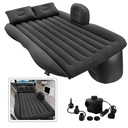 Inflatable Car Air Mattress, One-pece Backseat Air Bed with Air-Pump, Portable Car Travel Bed with Two Pillows Fits Most Car Models for Camping Travel, Hiking, Trip and Other Outdoor Activities