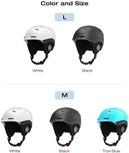 JMB YSYJJ Smart-Skihelm mit Bluetooth Ski & Snowboard Helm, IPX4 wasserdicht, Walkie-Talkie, Hören Persönlichkeit Musik Mode (Color : White, Size : M)