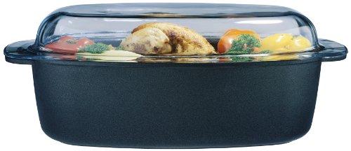 GSW 410557 Gourmet - Fuente con Tapa de Cristal para Asar (38 x 24 cm, 9 L), Color Negro