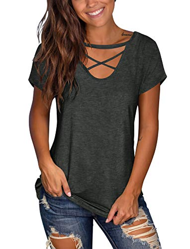 Floral Find Women's Short Sleeve Criss Cross Tops Casual V Neck Choker T Shirt Tees