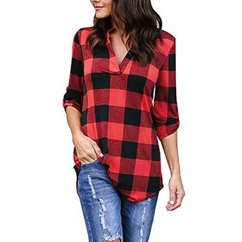 Moda Primavera Otoño Otoño Blusa A Rayas Tops para Vintage Camiseta Múltiples Opciones Asimétricas Elegante Dama Cuello Pullover Camisa De Manga Larga (Color : B-Rot, Size : 2XL)
