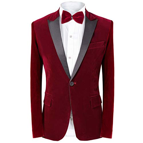 MAGE MALE Men's 2 Piece Suit Peaked Lapel One Button Tuxedo Slim Fit Velvet Blazer Party Dinner Jacket & Pants Red