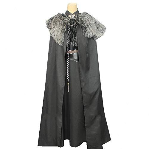 YXRL Costume Cosplay Halloween Sansa Stark Costume Lady Adulti Mantello Nero Maxi Vestito di Costumi Puntelli Movie Black-S