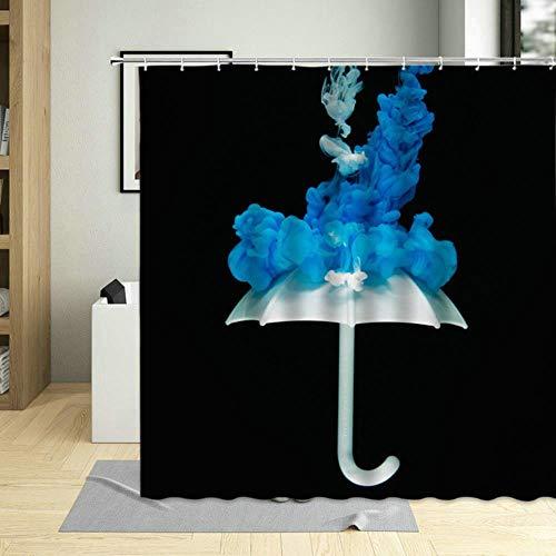 TTYAC Cortinas de baño con Estampado de Paraguas artísticos en Color de día lluvioso, Cortina de Ducha de poliéster Impermeable, Pantalla de decoración de Pared con Ganchos