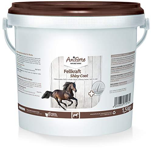 AniForte Fellkraft für Pferde 1,5 kg – glänzendes & kräftiges Fell, Glanz für Mähne & Schweif, Vitale Haut, Unterstützung Haarwachstum & Stoffwechsel, reich an Vitamin C, Naturprodukt