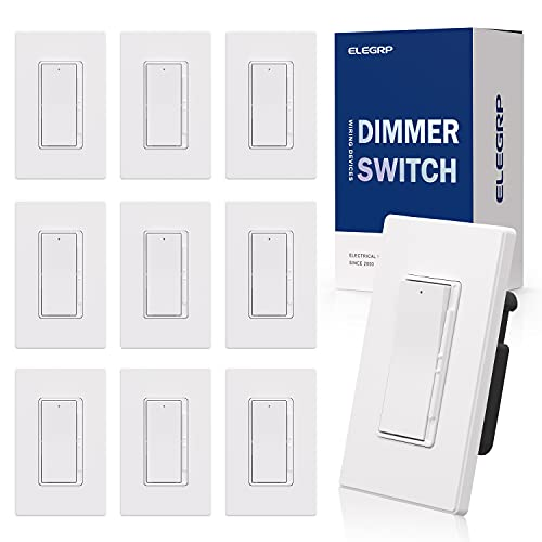 ELEGRP Digital Dimmer Light Switch for 300W Dimmable LED/CFL Lights and 600W Incandescent/Halogen, Single Pole/3-Way LED Slide Dimmer Light Switch, Wall Plate Included, UL Listed, 10 Pack, Matte White