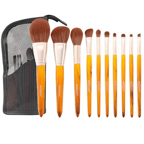 Faire Premium Brosses Kit Professionnel fibres synthétiques Fondation Blending fard à joues Correcteur crème liquide poudre visage yeux Brosses cosmétiques Kit avec sac (Size : B-10pcs+Storage Bag)
